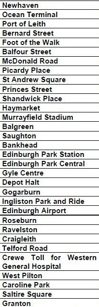 Edinburgh Trams Stops